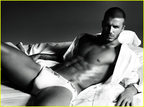 David Beckham wearing white underwear