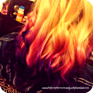 blond with pink and purple ombre hair
