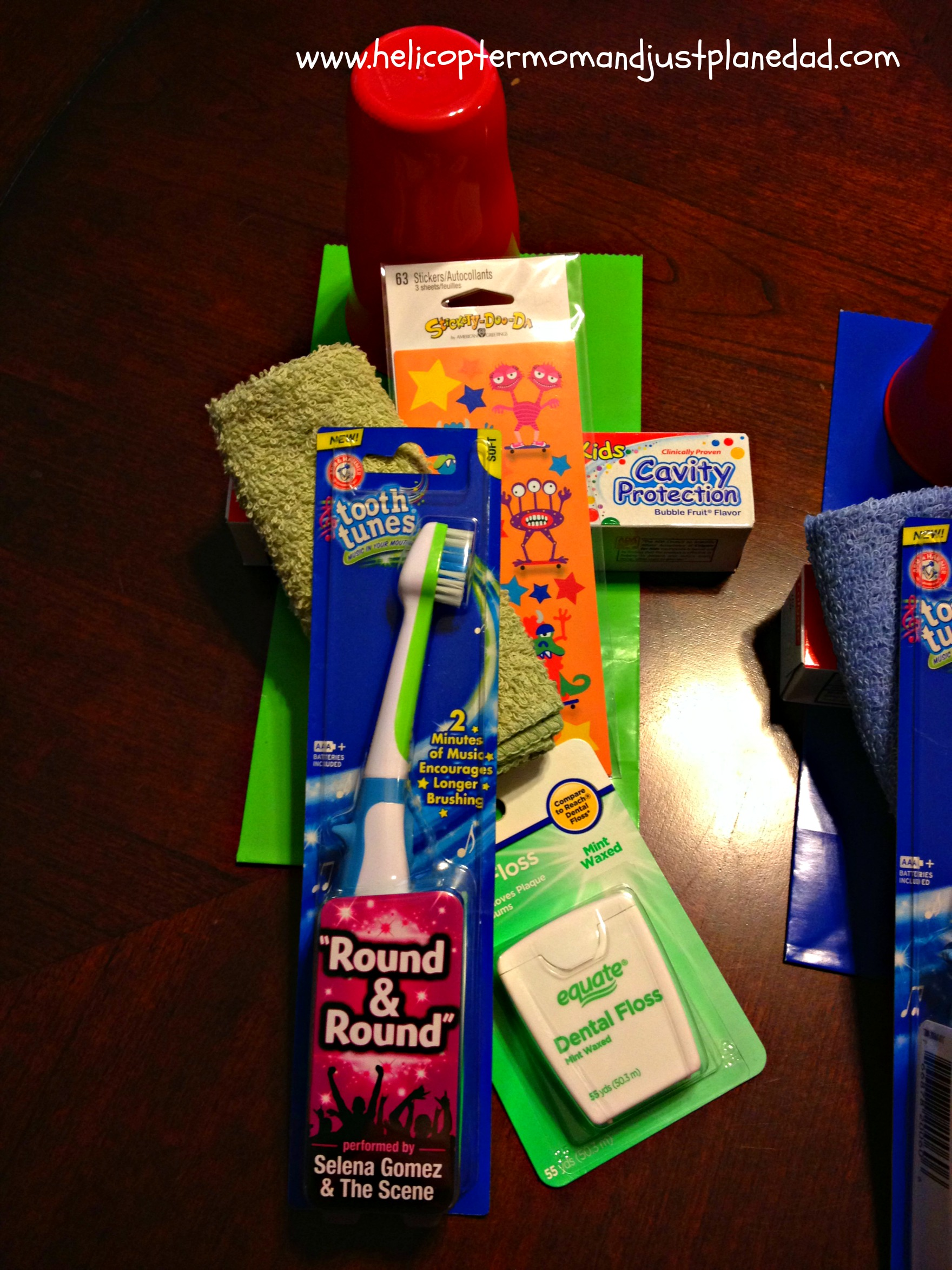 floss, toothbrush and #Spinbrush4Kids donation
