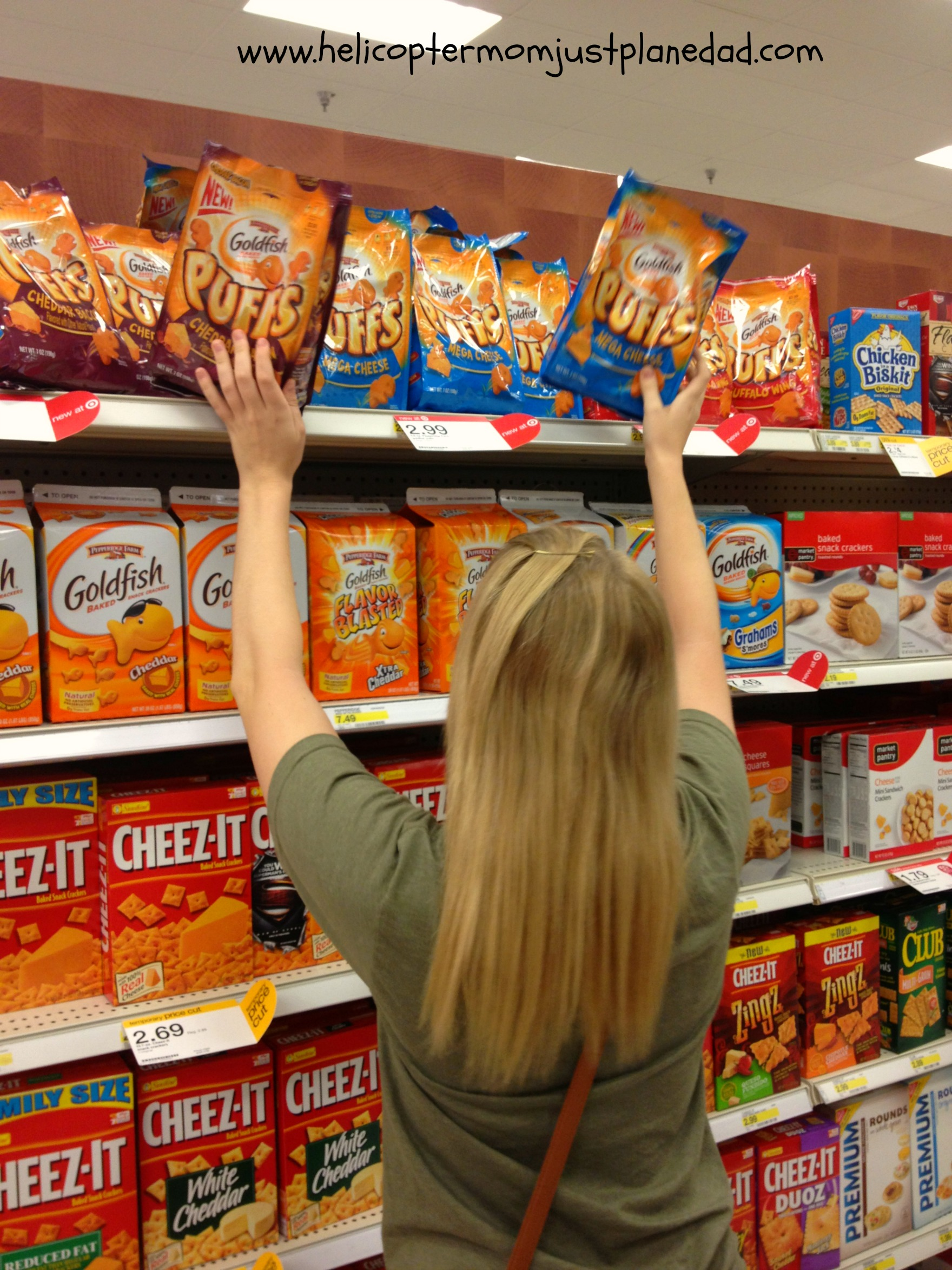stocking up on Goldfish Puffs