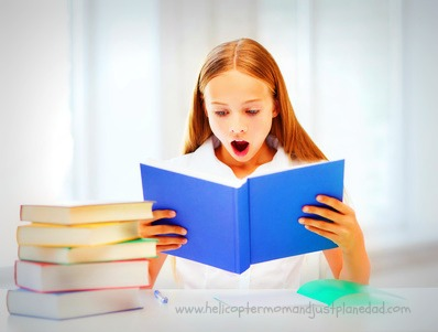girl reading shocking book