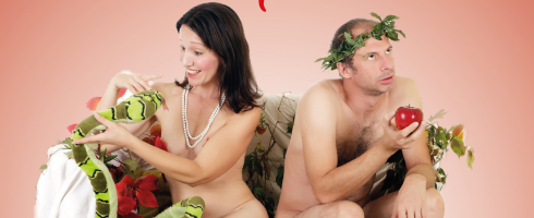 adam and eve on the couch