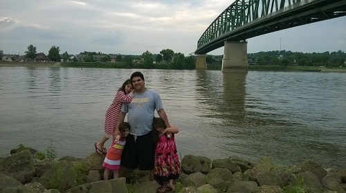 Rafa and the girls at the river