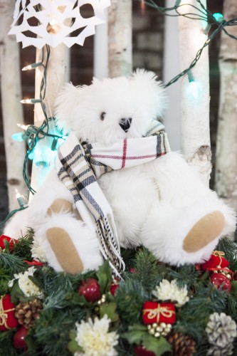 Teddy bear on Christmas tree
