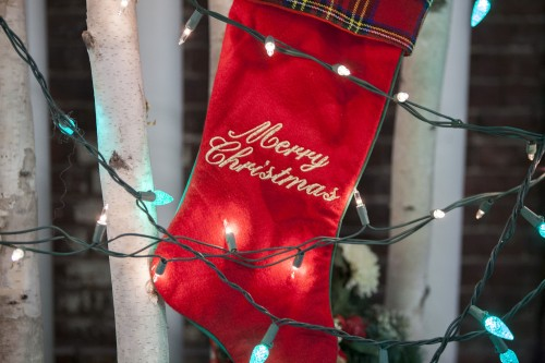 Christmas stocking and lights, christmas list