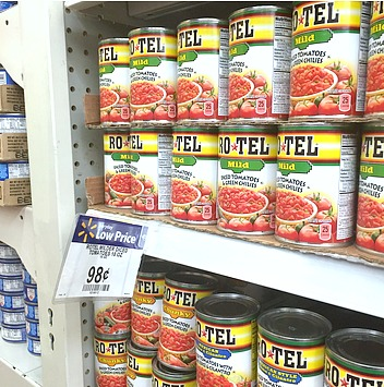 Rotel cans on Walmart shelf #JustAddRotel #Ad