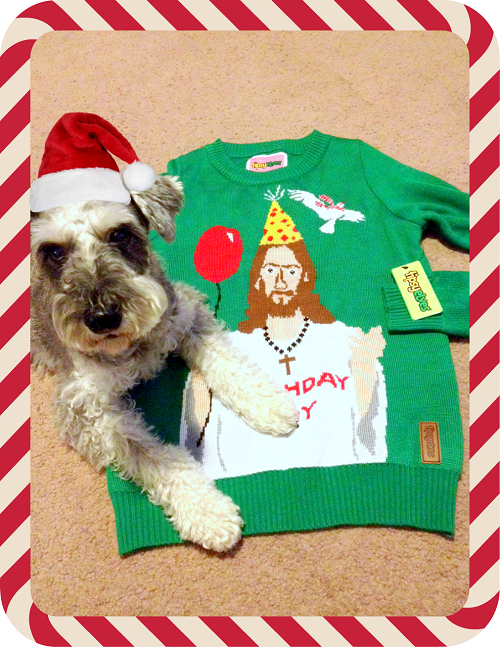 Tukker of Helicopter Mom and Just Plane Dad loves Tipsy Elves Christmas sweaters